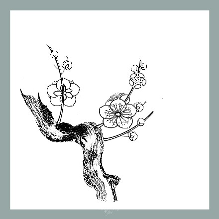 Plum branch in outline style